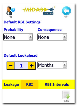 Default RBI Settings Screen