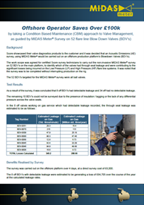 Blowdown Valves Survey Delivers over £100k Savings